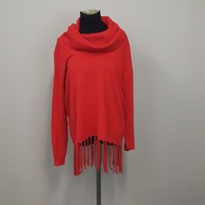 Michael Kors red Fring cowl neck sweater